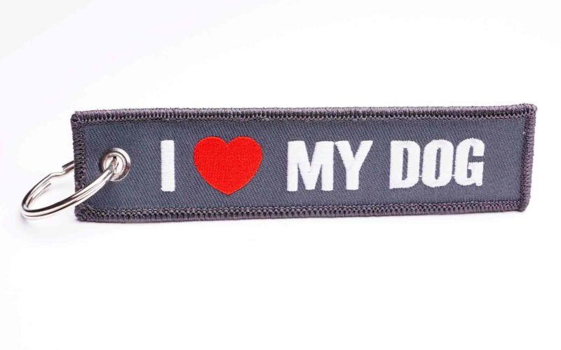 I love my Dog Schlüsselanhänger grau mit Herz