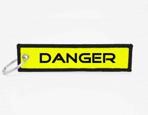 DANGER gelb Schlüsselanhänger individuell mit Logo