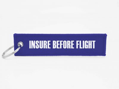 insure before flight Schluesselanhaenger mit logo