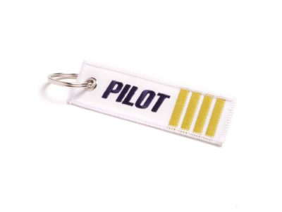 Pilot Schlüsselanhänger weiss blau mit goldenen Streifen