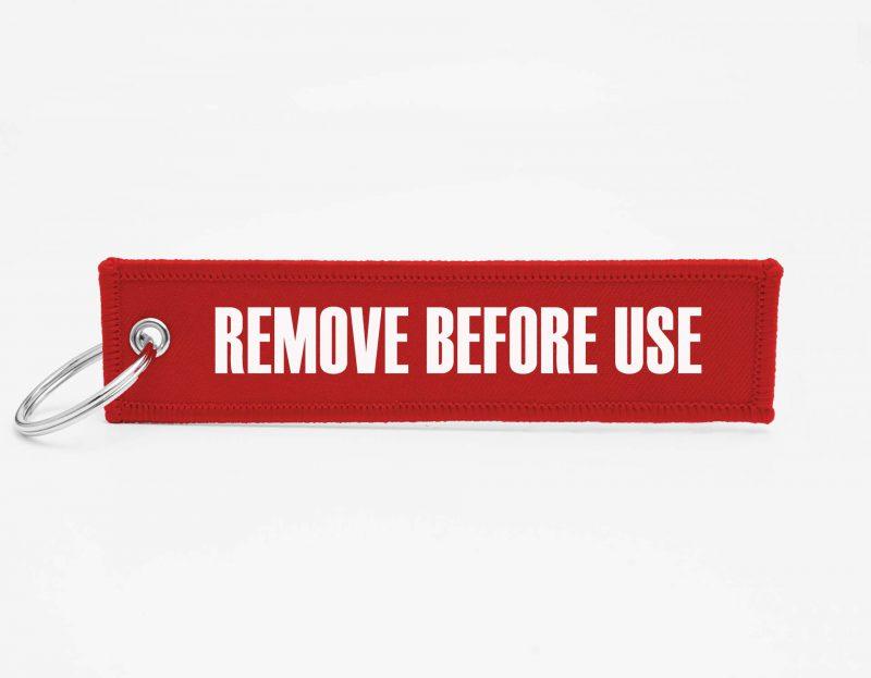 REMOVE BEFORE USE Schlüsselanhänger individuell mit Logo