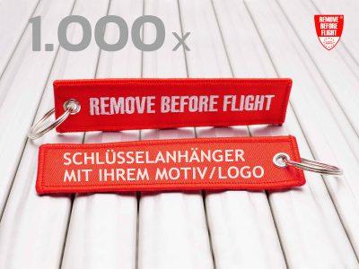 REMOVE BEFORE FLIGHT Schlüsselanhänger individuell mit Logo 1000x