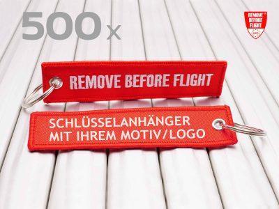 REMOVE BEFORE FLIGHT Schlüsselanhänger individuell mit Logo 500x