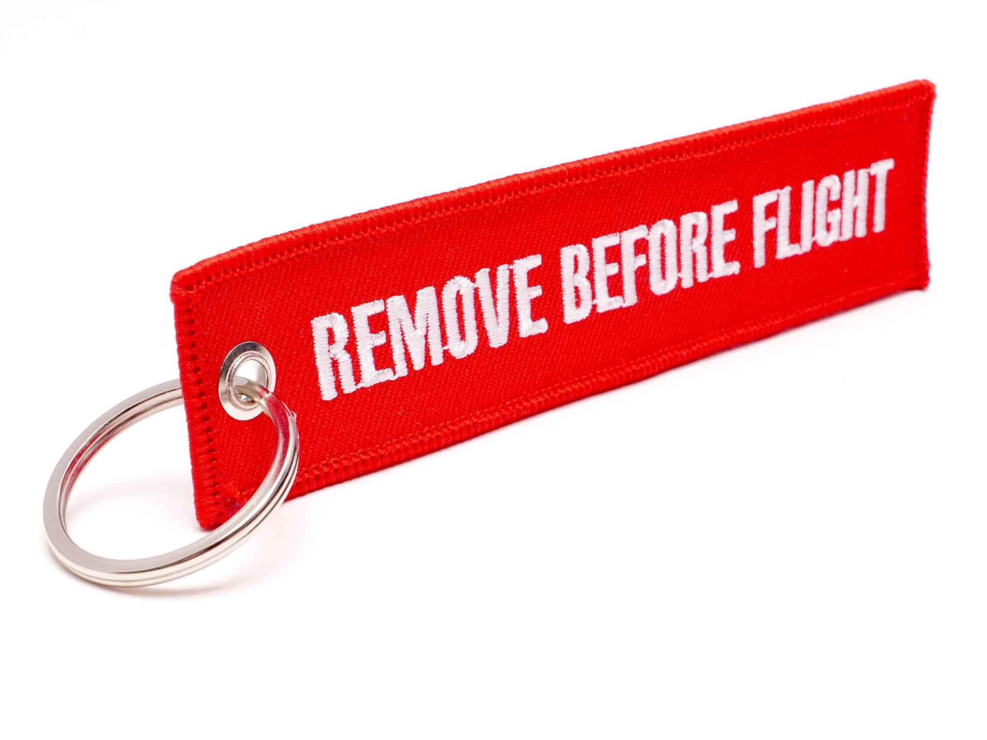 REMOVE BEFORE FLIGHT Schlüsselanhänger rot