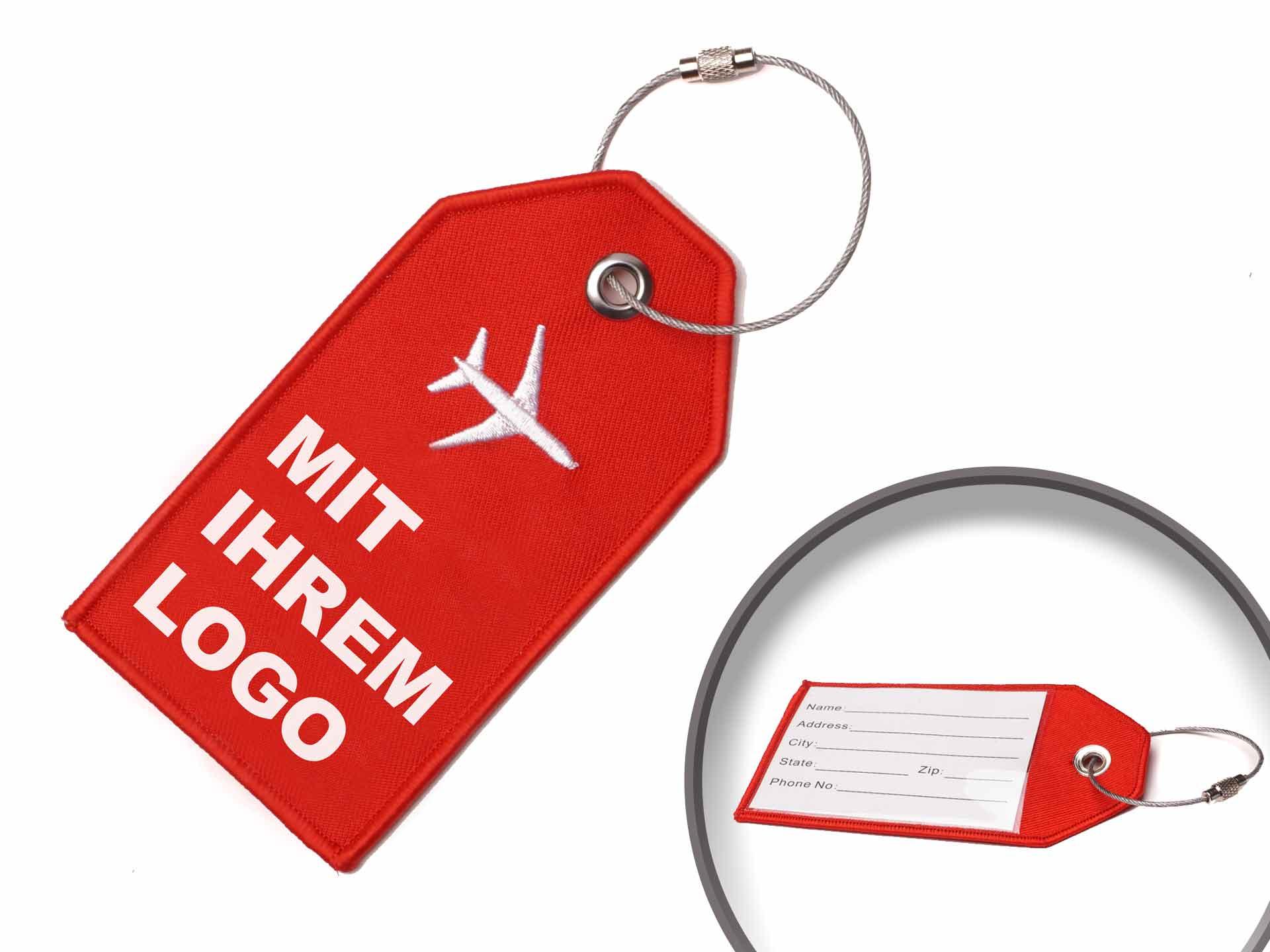 Gestickter Kofferanhänger mit Ihrem Logo und Rueckseite