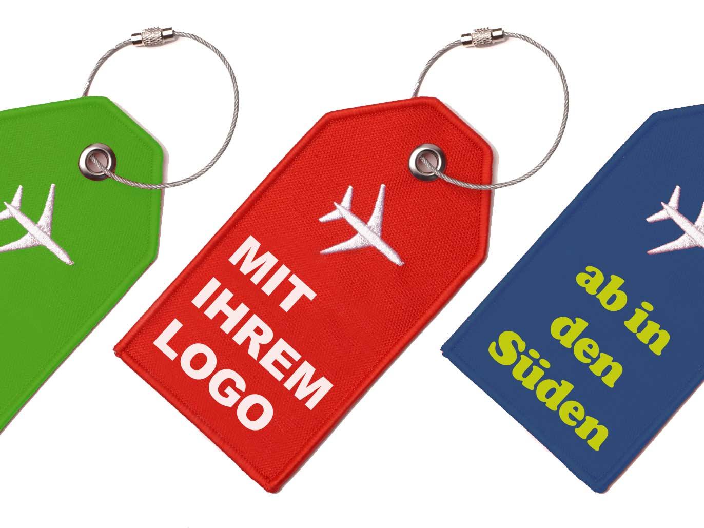 Gestickter Kofferanhänger mit Ihrem Logo rot blau gruen