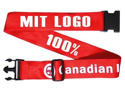 individueller Koffergurt mit Logo am Koffer
