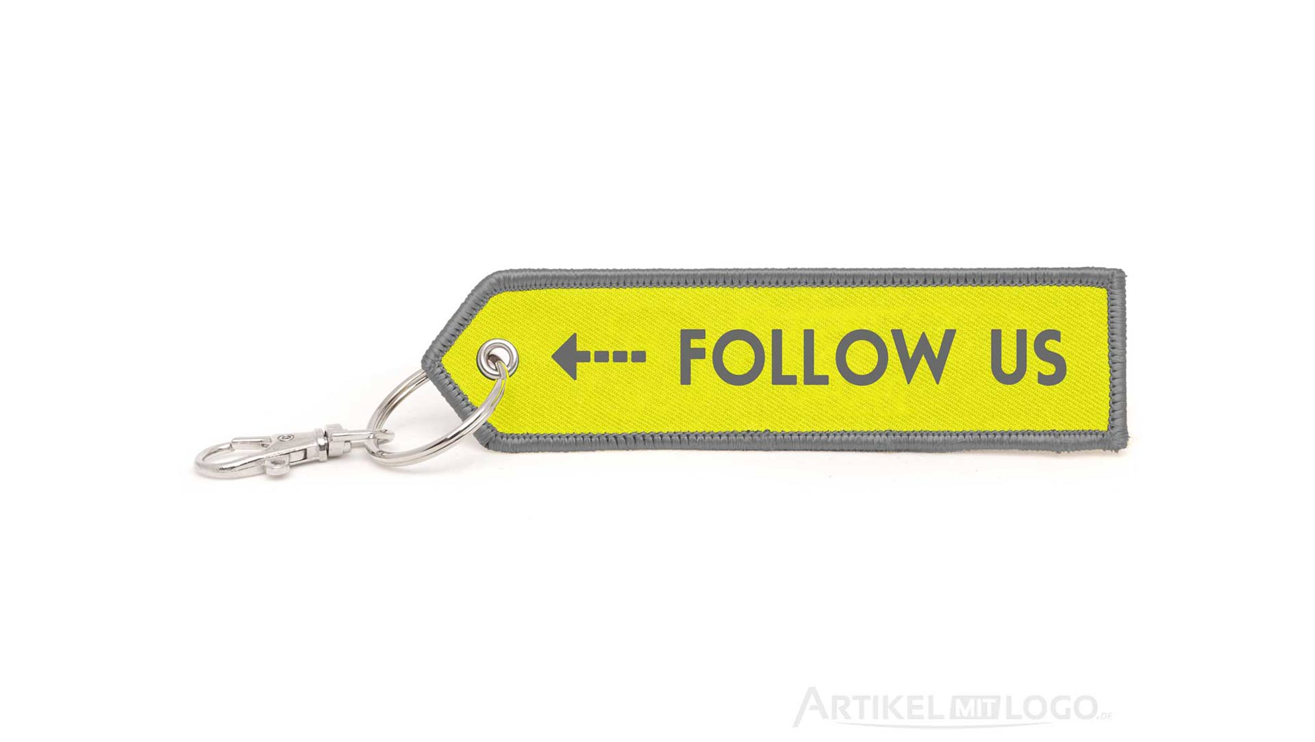 Pfeil Schlüsselanhänger mit Follow Us gelb